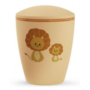 Biodegradable Cremation Ashes Urn (Infant / Child / Boy / Girl) – Pastel Orange with Illustrated Lions